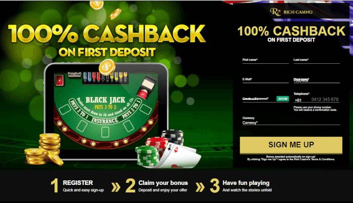 Rich casino cashback