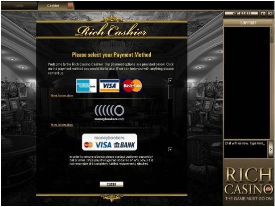Rich Casino samsung app- Banking options