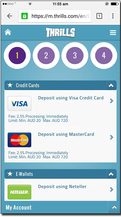 Thrills Casino Samsung Android-Deposit